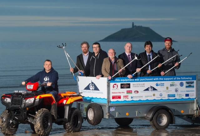The new sight on the beach - a quad bike and trailer - showing East Cork community dedication to the preservation of a clean maritime environment