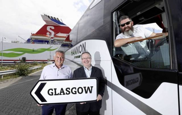 Bus & Sail: Aodh Hannon (left) of Hannon Coach revealed plans to expand company's direct luxury coach service between Belfast and Glasgow, Scotland (via Port of Cairnryan) to other towns across Northern Ireland. Also pictured is Stena Line's Ian Baillie and driver Jim McAlorum