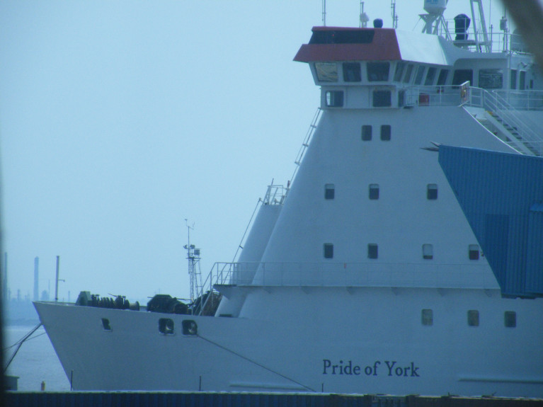 In the UK ministers urged the House of Lords to save a UK-Europe ferry link which the P&O ferry, Pride of York used to sail nightly from Hull to Zebrugge, Belgium. The 1987 built ferry could take up to 880 passengers and above is AFLOAT's close up view of the cruiseferry docked at the English North Sea port. The ferry was the largest passenger ship ever built in the UK since the former Cunard Line 'liner' Queen Elizabeth 2, otherwise best known as the 'QE2'. Both ships were built on the banks of the River Clyde, Scotland.