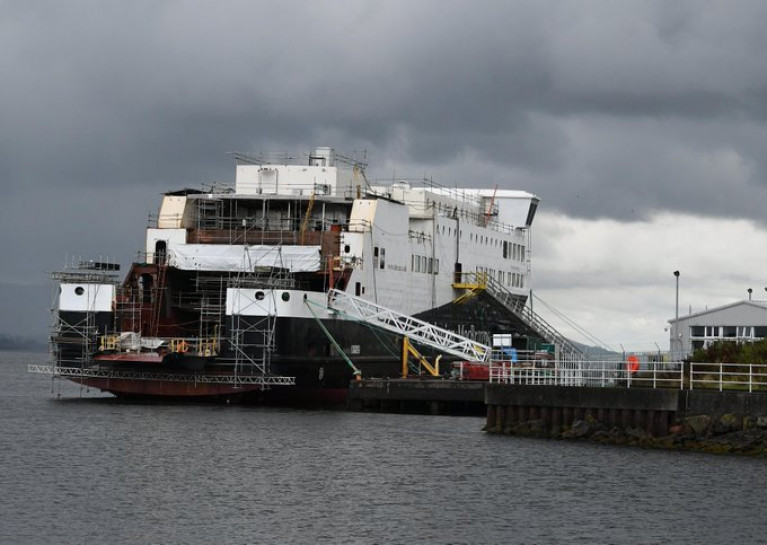 The Ferguson shipyard in Port Glasgow, Scotland which was nationalised. Scottish Government officials have denied claims of impropriety in the procurement of two ferries. AFLOAT adds above the first of the pair, Glen Sannox, for operator CalMac's Isle of Arran route from Ardrossan.