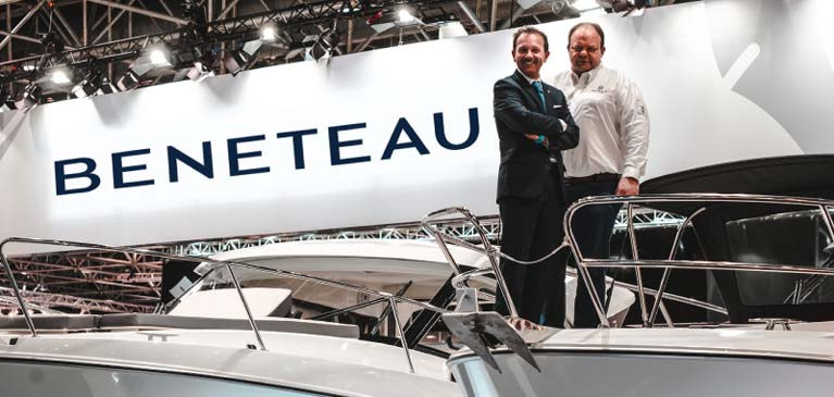 Aidan Foley (right) on the Beneteau stand at Boot Dusseldorf