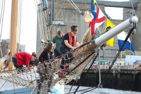The always-absorbing world of a traditional sailing ship – students from Cork Life Centre get busy with Ilen Facilitator Chelsea Canavan during the vessel's recent participation in Cork Mental Health Festival