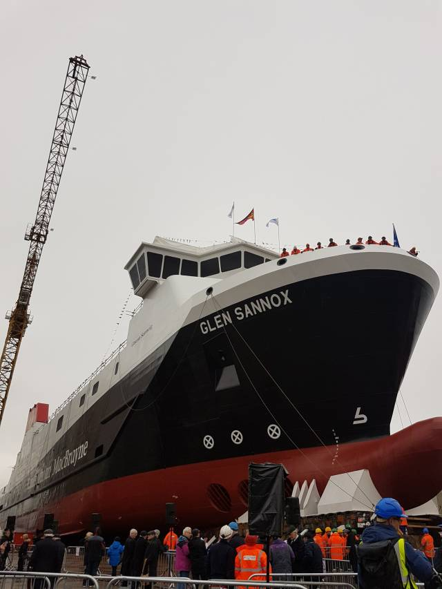 MV Glen Sannox prior to the launch (just over a year ago) at the Scottish shipyard in Port Glasgow on the Clyde by First Minister, Nicola Sturgeon.