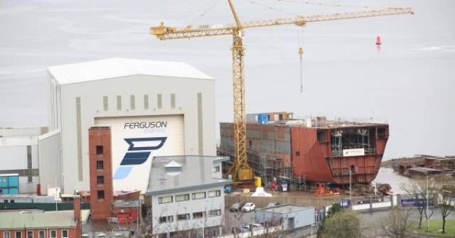 Scottish shipyard Ferguson Marine located at Inverclyde has been taken into public ownership. In this file photo, the first of a pair of ferries under construction, Glen Sannox is to operate for Scottish state-owned operator CalMac on the Isle of Arran service across the Firth of Clyde.