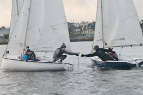 Captains shake hands after the final race in Carraroe on Sunday 3 March