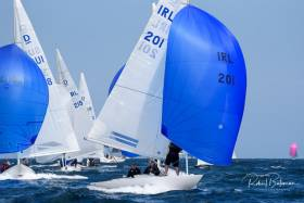 Martin Byrne's Jaguar Sailing Team (201) from the Royal St George YC leads the Dragon fleet at the Sovereign's Cup