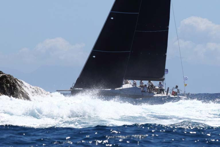 Eric de Turckheim's NMD54 Teasing Machine (FRA) at St Barths on the second day of the RORC Caribbean 600