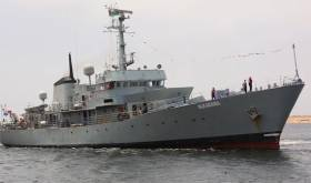 Al-Karama, formerly LE Aisling, sails in to Benghazi last week to join Libya's naval fleet