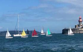 Hansa dinghies racing in the first day of the President's Cup at Dun Laoghaire on Dublin Bay