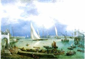 "A long way from the original very basic idea of an ""Asylum Harbour"" with just one breakwater at Dun Laoghaire. Richard Brydges Beechey's painting of the Royal St George YC Regatta in Kingstown Royal Harbour in 1874 captures the essence of a Golden Era. Although most of the course was in the bay and out to the Kish, even the largest yachts were expected to round a markboats in the harbour close off the Clubhouse, and the finish was in the harbour"