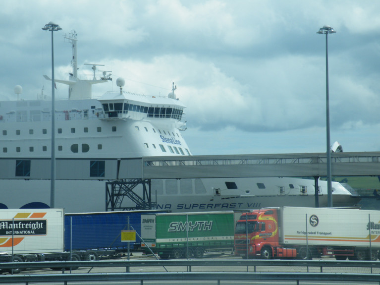 Retail Northern Ireland said there are some issues around supply. Above in this AFLOAT file photo of lorries parked alongside a ferry berthed in Belfast Harbour having sailed across the North Channel route from Cairnryan, Scotland. The port (among 5 in N.I) has additional ro-ro freight /ferry routes linking Britain through the English ports of Heysham and (Birkenhead) Liverpool.