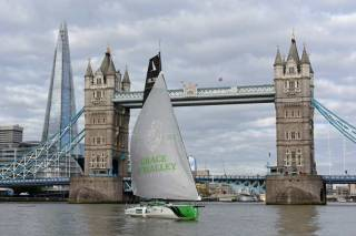 Joan Mulloy's ocean racing boat, Believe in Grace as she arrived at Tower Bridge London having completed a special trip from the West of Ireland to  London, retracing the route of her formidable ancestor, Grace O'Malley  Irish Pirate Queen who famously met with the Virgin Queen in 1593