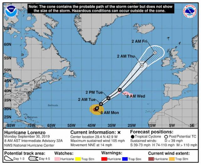 'Too Early To Tell' What Impact Hurricane Lorenzo Might Have On Ireland This Week