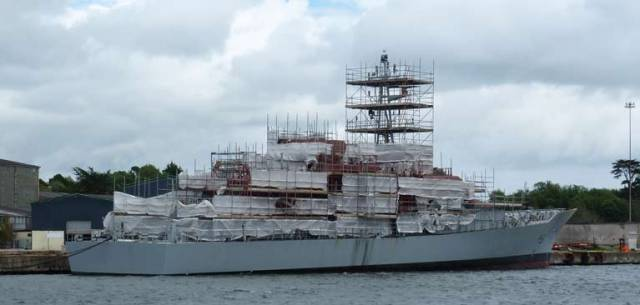 LÉ Roísín at Cork Dockyard taken on June 30th 2019 as part of mid-life refit