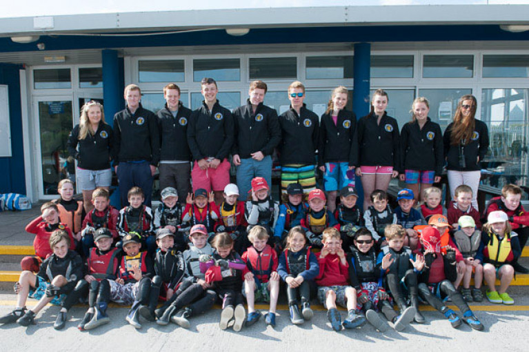 Royal Cork instructors and students at the RCYC clubhouse in Crosshaven