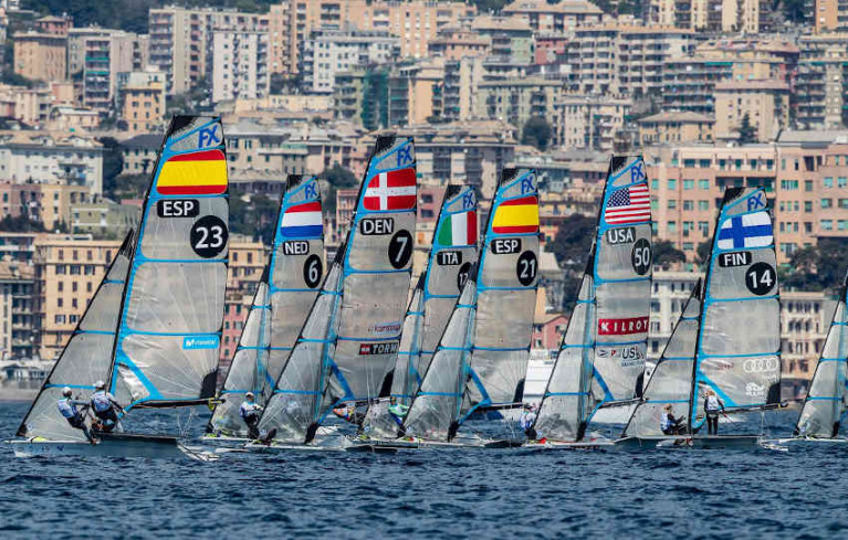 Racing at last year's World Cup Series event in Genoa