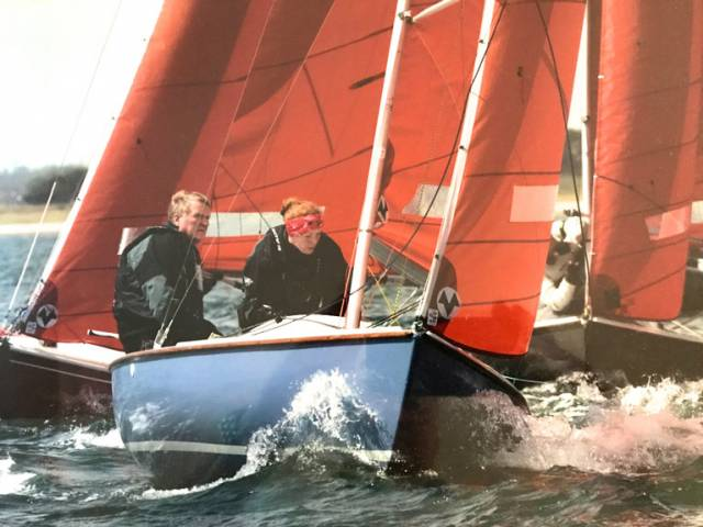 The serious helmsman. Jack Roy and his daughter Jill racing their Squib class Kanaloa, no 130. One of the oldest boats racing in the Dublin Bay class, they worked together to restore her from a near-derelict condition