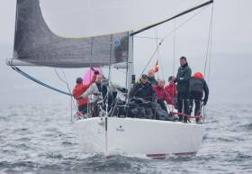 Pat Kelly's J109 class RC35 winner, Storm. The Rush Sailing Club yacht from County Dublin was using an innovative symmetric spinnaker as opposed to the standard asymmetric typically used by the J109 class