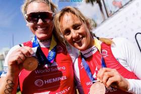 Saskia Tidey (left) and Charlotte Dobson with their bronze medals from the Hempel World Cup Series Miami in February this year