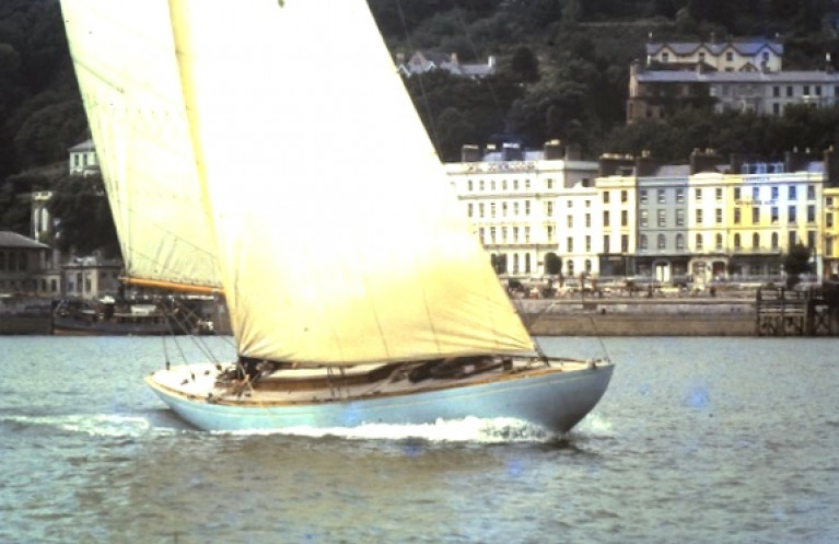 The classic stem shape exemplified by Tom Crosbie's International 8 Metre If off Cobh in 1960. Designed and built by Bjarne Aas in Norway in 1939, the 49ft If was unusual for her class in having full standing headroom