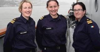 Lieutenant Commanders Nessa Maloney (LE Ciara), Grace Fanning, (LE Riosin) and Clare Murphy (LE Niamh).