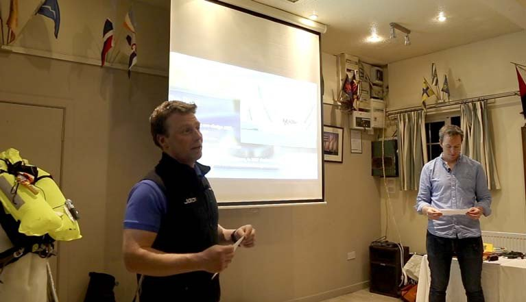 Kenny Rumball (left) and John White deliver the Man Overboard Lessons lecture at Wicklow Sailing Club after the 2018 Round Ireland Race. Watch the full video below