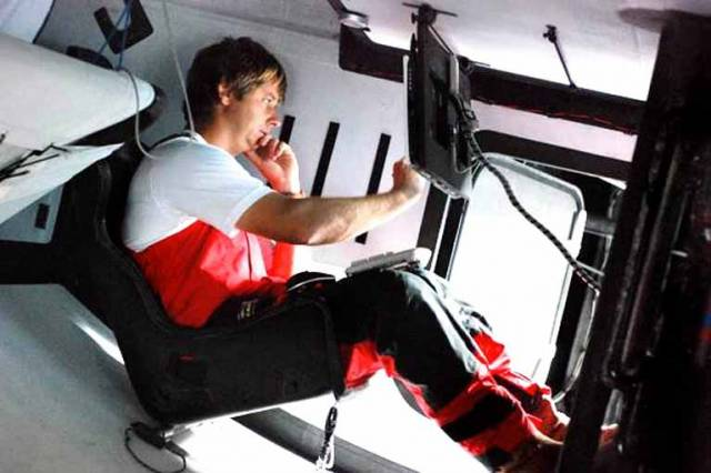 Ian Moore in the navstation on Ireland's Green Dragon in 2008 in the Volvo Ocean Race