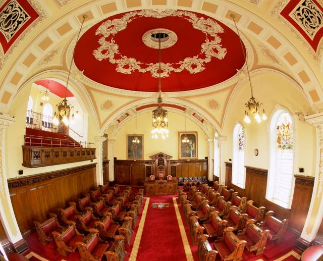 The chamber at Belfast City Council where a special meeting was held yesterday on a motion calling on the UK government to support the shipyard (see link below to view a webcast)