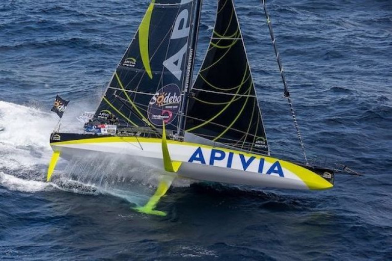 Charlie Dalin is pushing Apivia very hard in near ideal foiling conditions