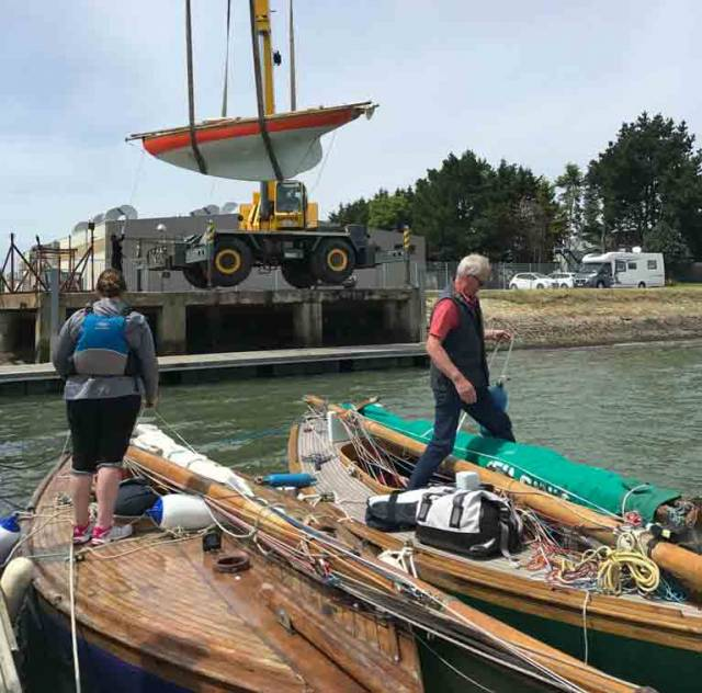 Up, up and away....Roddy Cooper's Carrickfergus-built Howth 17 Leila of 1898 vintage takes to the skies at the Morbihan