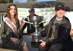 World Cup winner Bernard Kilkenny (right) with Queen of the Lakes, Kelli Murphy, and John Paddy Burke