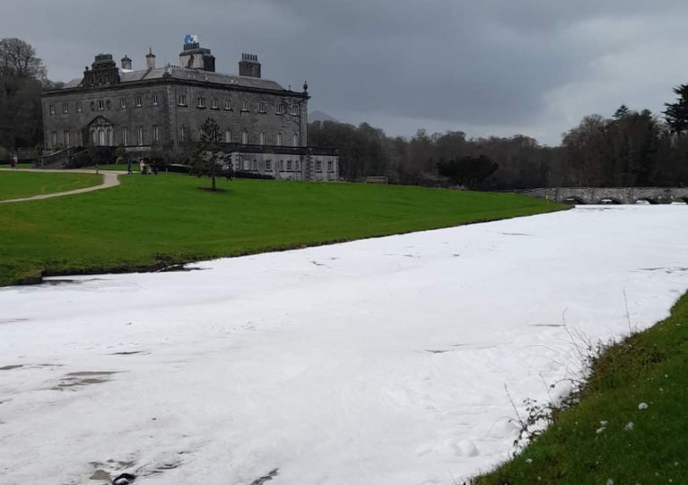 Foam in the Carrowbeg River in Westport resulting from the discharge on Saturday 16 January