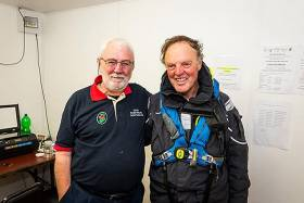 RORC Commodore Michael Boyd (right) with Wicklow Sailing Club's Race Organiser Theo Phelan immediately after the Boyd-skippered First 44.7 Lisa had finished the Volvo Round Ireland Race to become the best-placed Irish boat at third overall in IRC. Photo courtesy Volvo Round Ireland Race