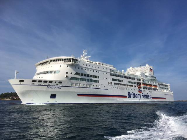 Brittany Ferries 2017 seasonal Cork-Roscoff route had a 4% increase in passengers compared to the previous year. Above: Cruiseferry Pont-Aven Afloat adds has 'scrubber' funnel technology to reduce sulphur emissions, is seen in Spanish waters where the 40,000 gross tonnage cruiseferry is currently operating Santander-Portsmouth sailings. The cruiseferry will resume Ireland-France sailings in late March, 2018.