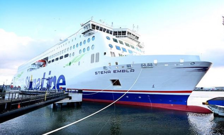 Stena Embla on her berth in Belfast in early January