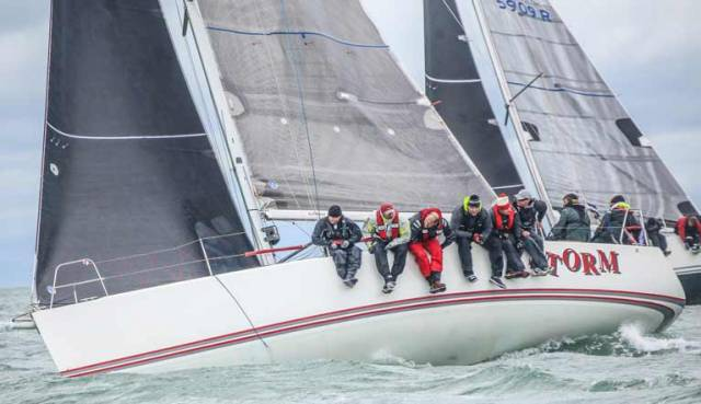 Pat and David Kelly's Storm from Howth Yacht Club has started a successful defence of it's J109 title at Dun Laoghaire