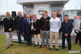 Paul Gibbons of Anchor Challenge receiving the IRC European Championship Trophy from RORC Commodore Michael Boyd