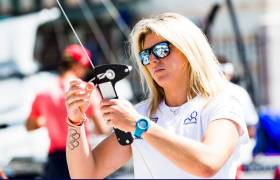 Royal Irish Yacht Club sailor Saskia Tidey in action in the Sailing World Cup Final at 10.50. See below