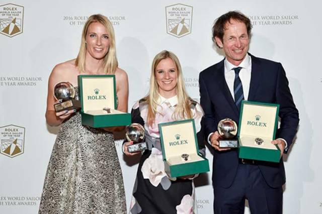 Santiago Lange (ARG) and Hannah Mills and Saskia Clark (GBR) received the title of Rolex World Sailors of the Year