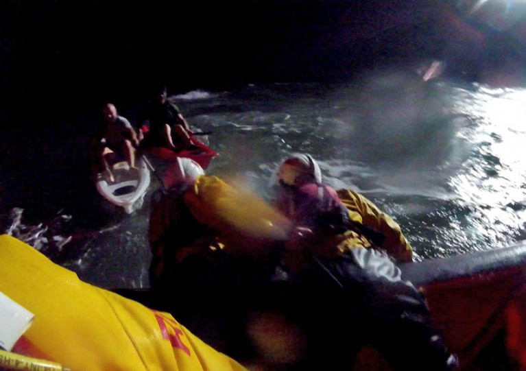The two kayakers were found after dark in the Bristol Channel by Minehead RNLI and HM Coastguard