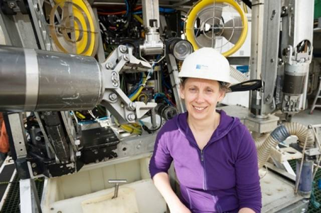 Dr Louise Allcock with the ROV Holland I
