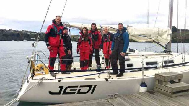 The Jedi crew in Kinsale last weekend, hoping decent breezes would fill in. Eventually, fair winds arrived
