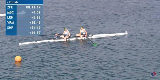 Fermoy's Ellie O'Reilly and Gill McGirr after winning at Dorney Lake.