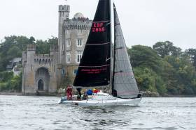 Cortegada (George Radley) crosses the finish, a transit between Committee boat and Blackrock Castle. Scroll down for photo gallery below