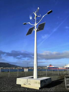 One of the new solar and wind powered light installed in Belfast Harbour, where AFLOAT adds above on the opposite bank of the Lagan is berthed freight-only Stena Forerunner. Last year the ro-ro ship was transferred from North Sea service onto the Belfast-Birkenhead (Liverpool) route.