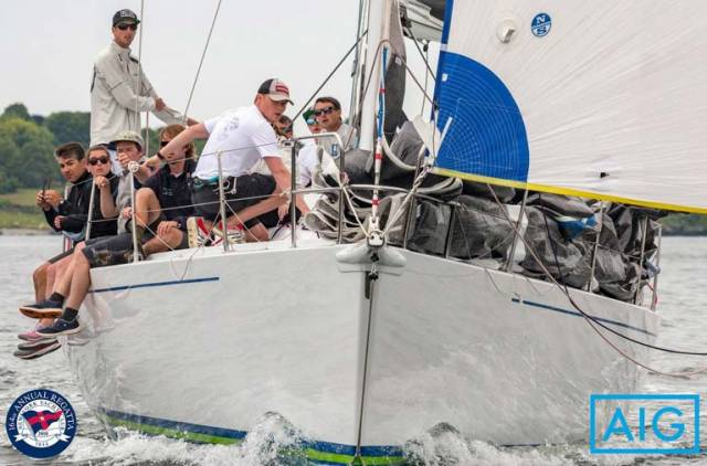 William Byrne (kneeling and closest to camera) of the National Yacht Club will be competing with the young team onboard J/V50 'Crazy Horse' owned by Irish American, Kevin McLaughlin