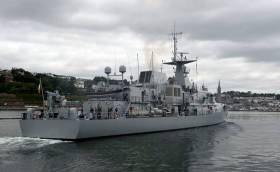 LE James Joyce is seen in a view taken from Haulbowline Naval Base in lower Cork Harbour. The OPV90 class ship is currently nearing completion of the voyage in the central Mediterranean Sea to takeover Operation Sophia duties from a sistership.