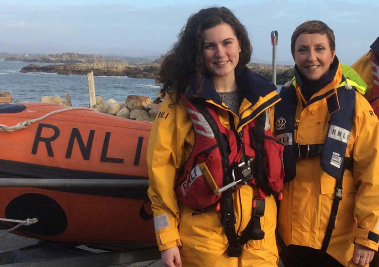 Arranmore RNLI crew member Erin McCafferty with station president Majella O'Donnell