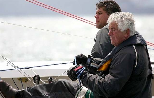 Malahide Yacht Club's Richard Burrows sailing an Etchells 22 with his son David