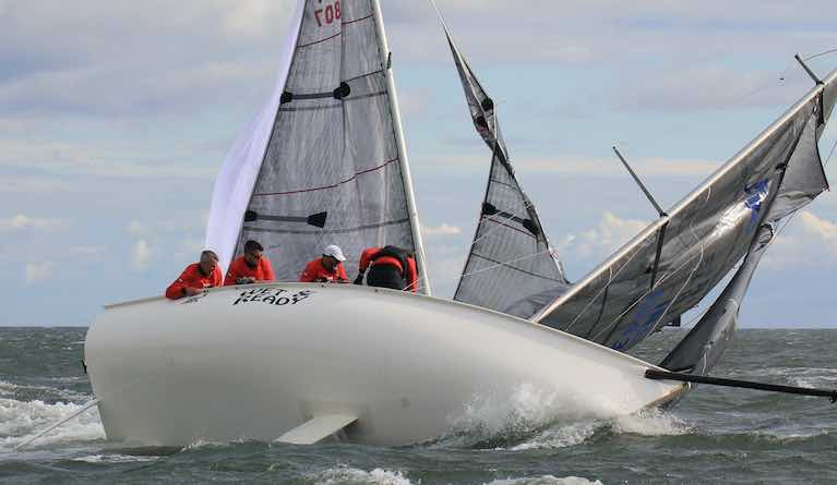 Dan O'Grady's Wet 'N'Black from Howth Yacht Club  in the windy conditions that prevailed on Day One of the 1720 Southern Championships off Roches Point
